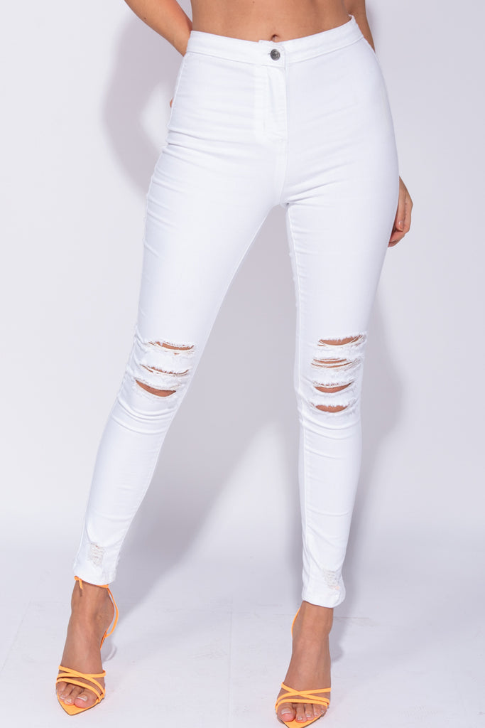 Image: White High Waisted Distressed Jeggings