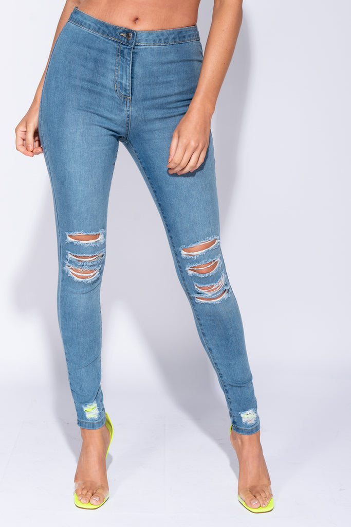 Image: Mid Blue High Waisted Distressed Jeggings