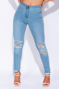 Light Blue High Waisted Distressed Jeggings