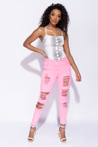 Neon Pink Multi Rip Mid Rise Skinny Jeans
