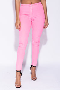 Neon Pink High Waisted Jeggings