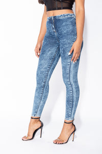 Dark Blue Acid Wash High Waisted Skinny Jegging