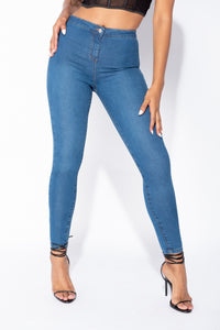 Mid Blue High Waisted Skinny Jegging
