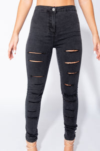 Charcoal Multi Slash High Waisted Jeggings