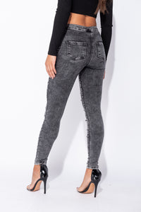 Dark Grey Acid Multi Slash High Waisted Jeggings