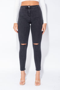 Charcoal Knee Slash High Waisted Jegging