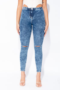 Dark Blue Acid Wash Knee Slash High Waisted Jegging