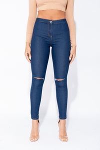 Indigo Knee Slash High Waisted Jegging