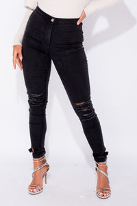 Charcoal Ripped High Waist Jeggings