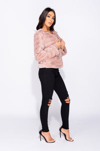 Dusty Pink Edge To Edge Collarless Faux Fur Jacket