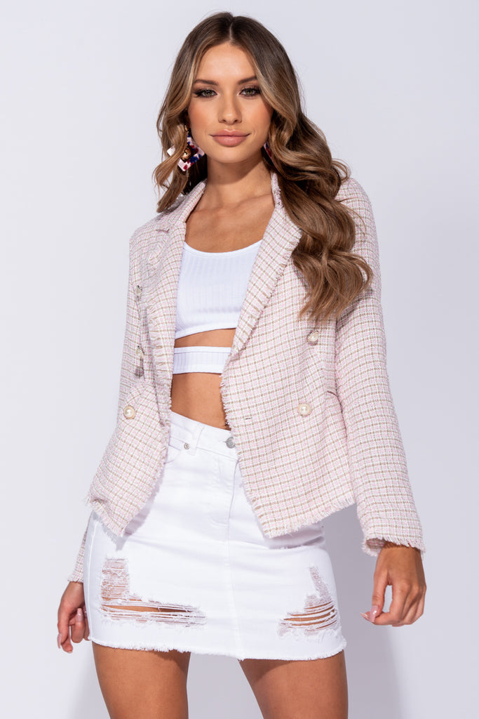 Image: Pink Tweed Check Dome Button Frayed Edge Blazer