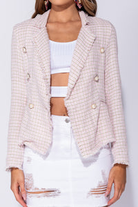 Pink Tweed Check Dome Button Frayed Edge Blazer