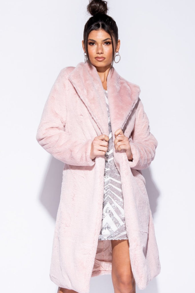 Pink Shawl Collar Longline Faux Fur Coat