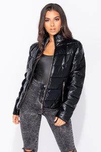 Black Leather Look Zip Pocket High Neck Puffer Jacket