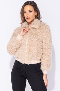 Camel Shaggy Fur Zip Front Cropped Jacket