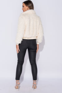 Cream Shaggy Fur Zip Front Cropped Jacket