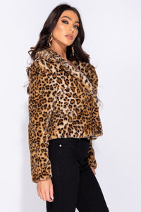 Leopard Print Faux Fur Crop Jacket