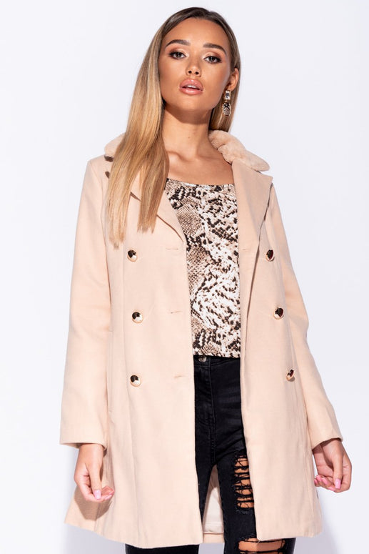 Image: Camel Faux Fur Collar Button Detail Trench Coat - Parisian-uk