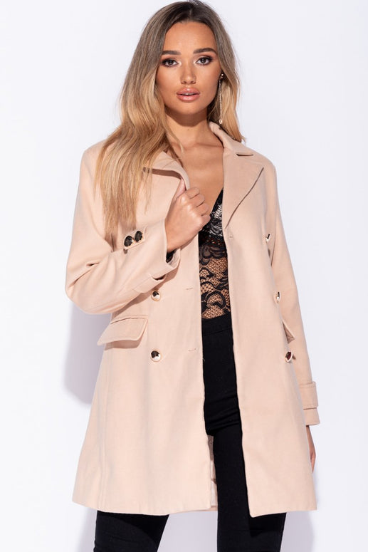Image: Camel Button Detail Trench Coat - Parisian-uk