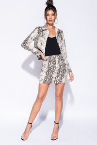 Snake Print Button Front Jacket