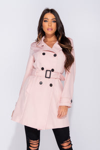 Pink Button Up Self Belt Trench Coat