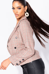 Brown Checked Button Detail Cropped Blazer