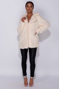 White Faux Fur Edge To Edge Mid Length Jacket