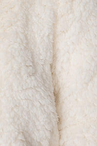 Cream Borg Fur Zip Front Bomber Jacket