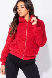 Red Borg Fur Zip Front Bomber Jacket