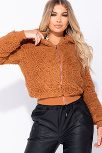 Rust Shearling Faux Fur Zip Up Front Rib Trim Bomber Jacket