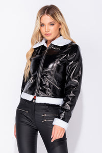 Black High Shine Leather Look Faux Fur Collar Borg Lining Zip Detail Bomber Jacket