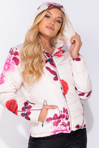 Cream Floral Print Zip Front Puffer Jacket