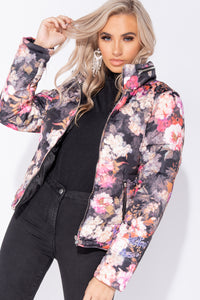 Black Floral Front Zip Front Puffa Jacket
