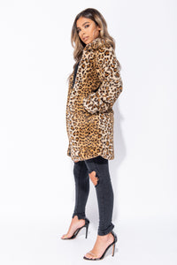 Leopard Faux Fur Mid Length Coat