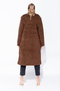 Brown Longline Borg Teddy Coat