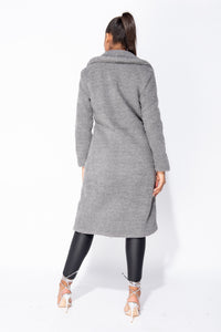 Dark Grey Longline Borg Teddy Coat