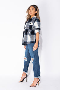 Black White Brushed Check Button Front Shirt Jacket