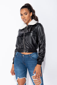 Black PU Patch Pocket Zip Front Faux Fur Collar Bomber Jacket