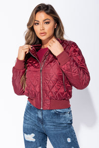Wine Diamond Quilted Bomber Jacket