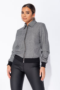 Black Herringbone Tweed Zip Front Bomber Jacket