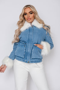 Blue White Faux Fur Trim Denim Jacket