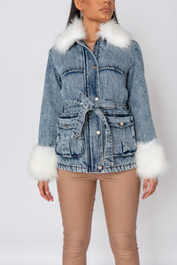 Blue Cream Faux Fur Trim Belted Denim Jacket