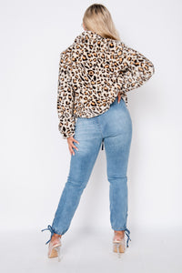 Leopard Faux Fur Cropped Bomber Jacket