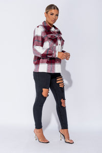 Wine Oversized Checked Patch Pocket Shacket