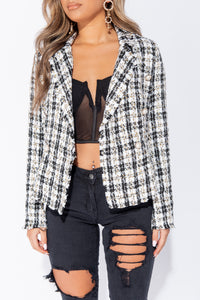 Gold Black Tweed Check Dome Button Frayed Edge Blazer