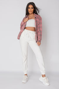 Pink Oversized Checked Patch Pocket Shacket