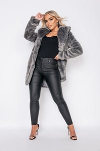 Dark Grey Mid Length Faux Fur Coat