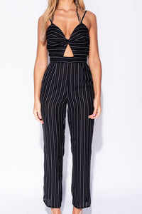Black White Vertical Stripe Front Twist Cut Out Detail Jumpsuit - Parisian-uk