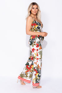 White Floral Border Wrap Front Tie Waist Side Split Jumpsuit