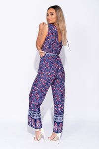Purple Paisley Border Print Wrap Front Tie Detail Jumpsuit